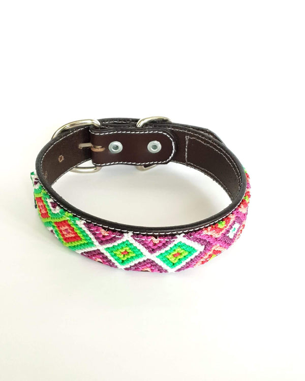 Medium Leather Dog Collar with Handwoven Green, Purple & Red Pattern