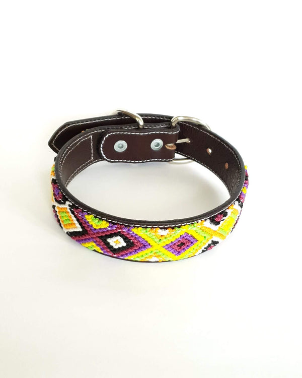 Medium Leather Dog Collar with Handwoven Green, Yellow & Purple Pattern