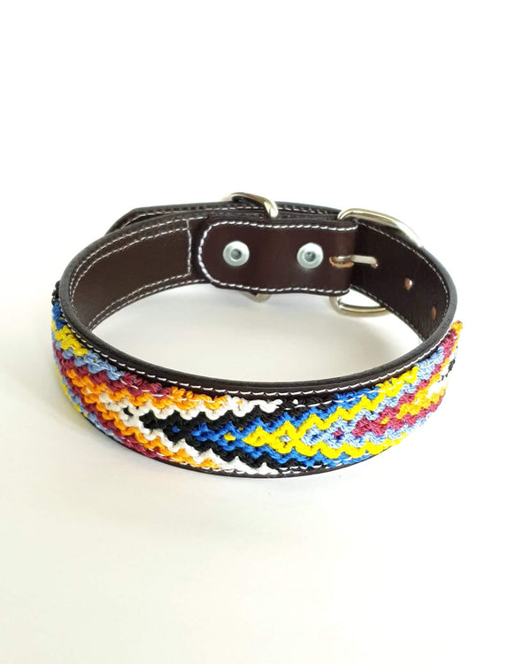 Medium Leather Dog Collar with Handwoven Orange, Blue, Yellow & Black Pattern