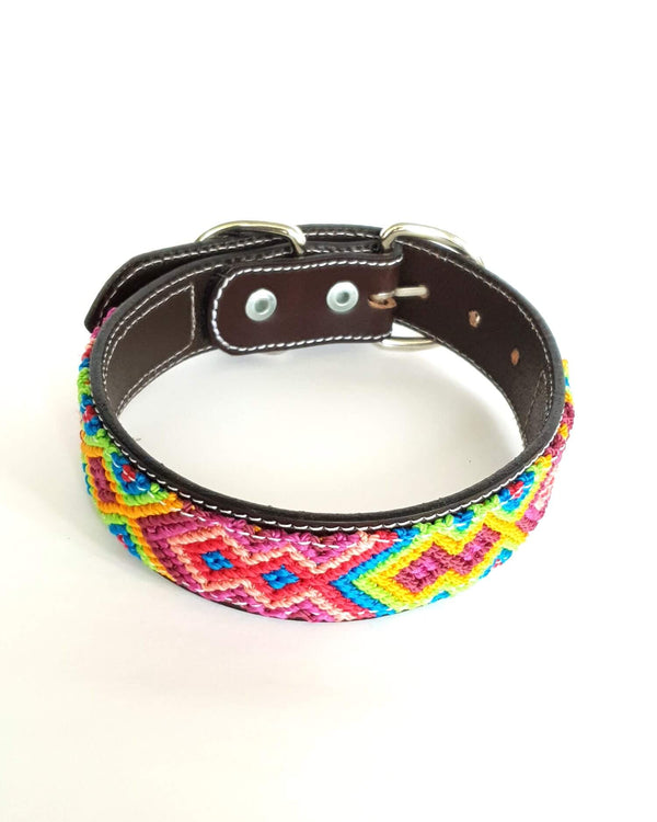 Medium Leather Dog Collar with Handwoven Pink, Blue & Yellow Pattern