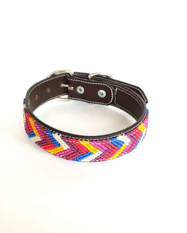 Medium Leather Dog Collar with Handwoven Purple, Red & Blue Pattern