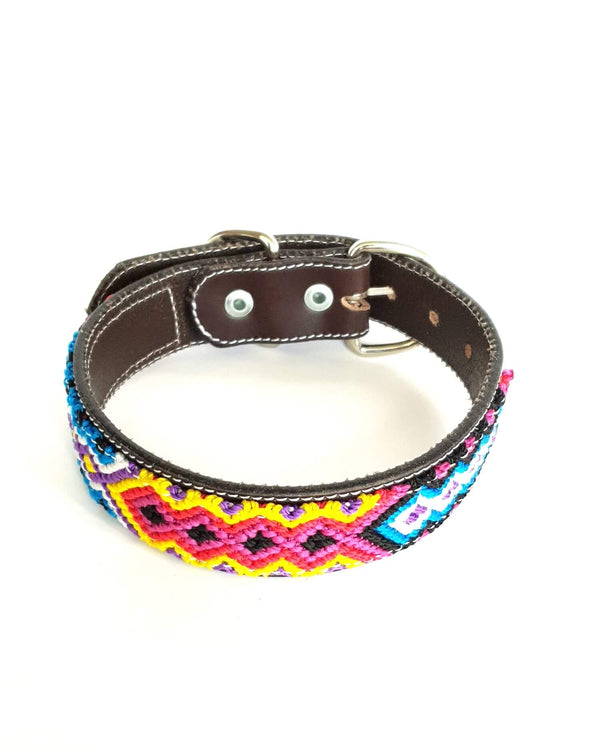 Medium Leather Dog Collar with Handwoven Red, Blue & Yellow Pattern