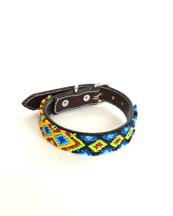 Small Leather Dog Collar with Handwoven Blue, Green & Orange Pattern