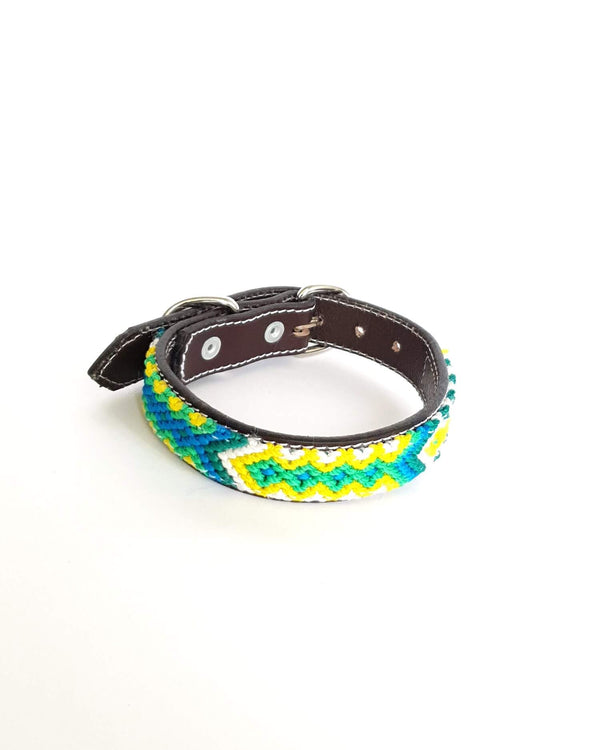 Small Leather Dog Collar with Handwoven Green, Yellow & White Pattern