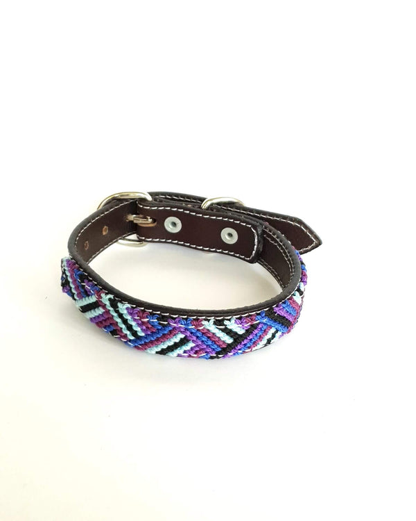 Small Leather Dog Collar with Handwoven Blue, Purple & Black Pattern
