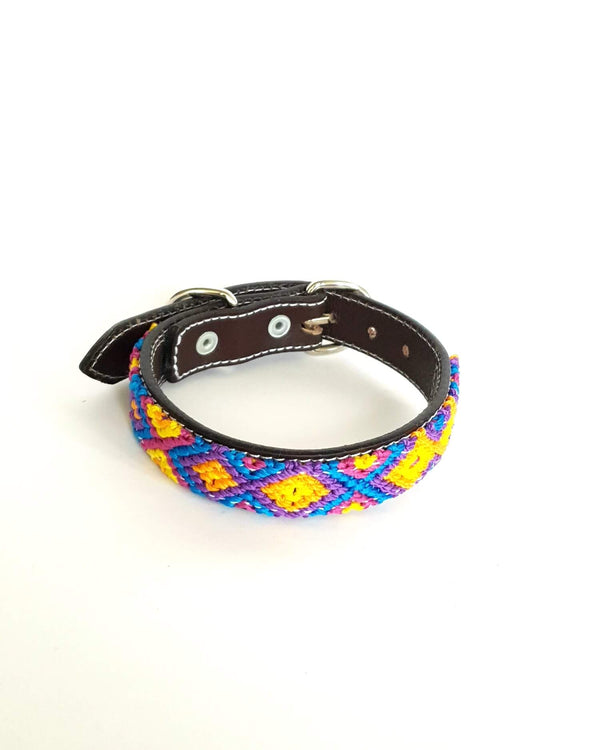 Small Leather Dog Collar with Handwoven Blue, Purple & Yellow Pattern