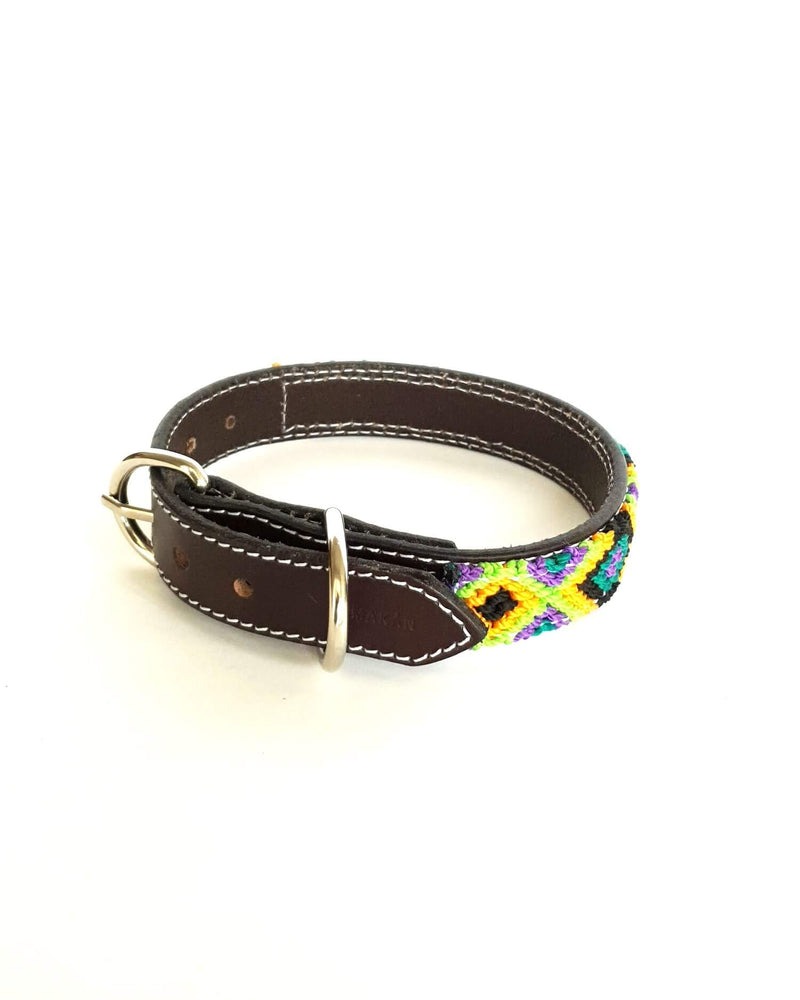 products/Leather-dog-collar-small-dark-green-yellow-black2.jpg