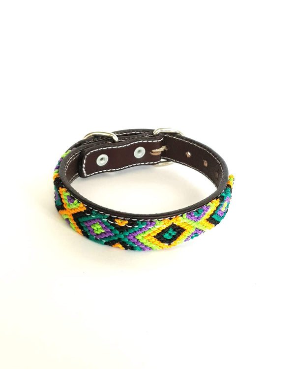 Small Leather Dog Collar with Handwoven Green, Yellow & Black Pattern