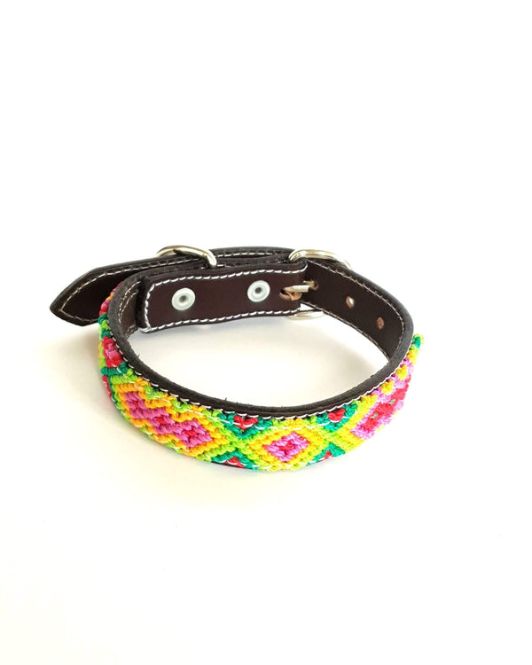 Small Leather Dog Collar with Handwoven Green, Yellow & Pink Pattern