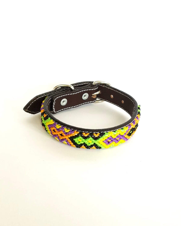 Small Leather Dog Collar with Handwoven Orange, Yellow & Black Pattern