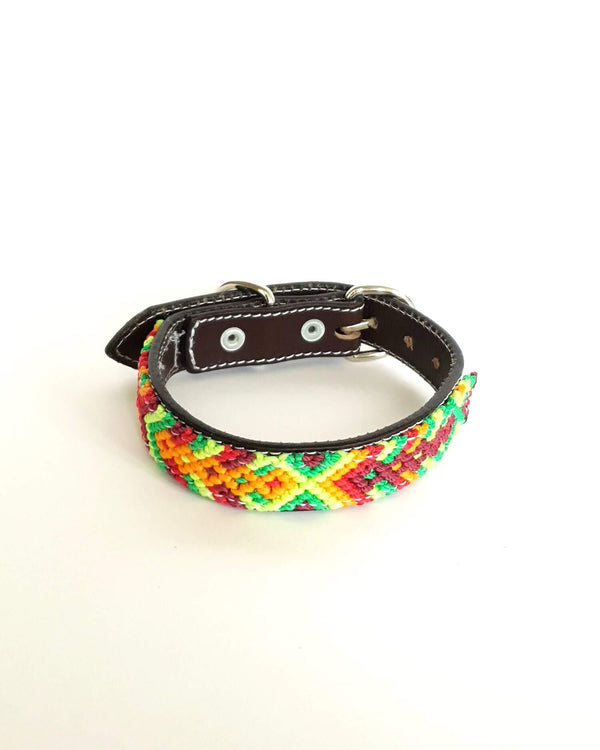 Small Leather Dog Collar with Handwoven Yellow, Green & Red Pattern