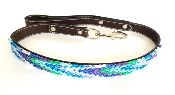 Leather Dog Leash with Handwoven Blue, Green & Purple Pattern