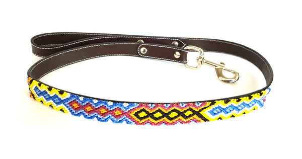 Leather Dog Leash with Handwoven Burgundy, Blue & Yellow Pattern