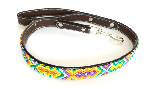 Leather Dog Leash with Handwoven Lilac, Green & Sky Blue Pattern