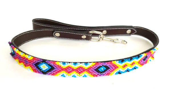 Leather Dog Leash with Handwoven Red, Blue, Yellow & Purple Pattern