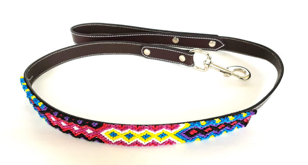 Leather Dog Leash with Handwoven Red, Blue, Yellow Pattern