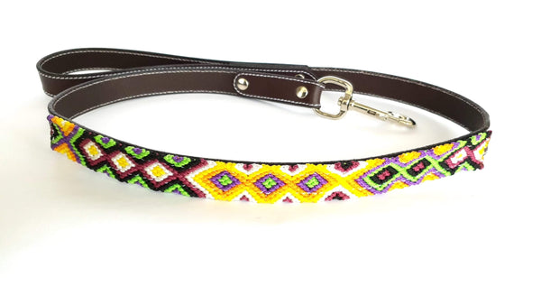 Leather Dog Leash with Handwoven Yellow, Green & Black Pattern