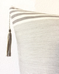 Lupita Hielo Throw Pillow detail view of tassel