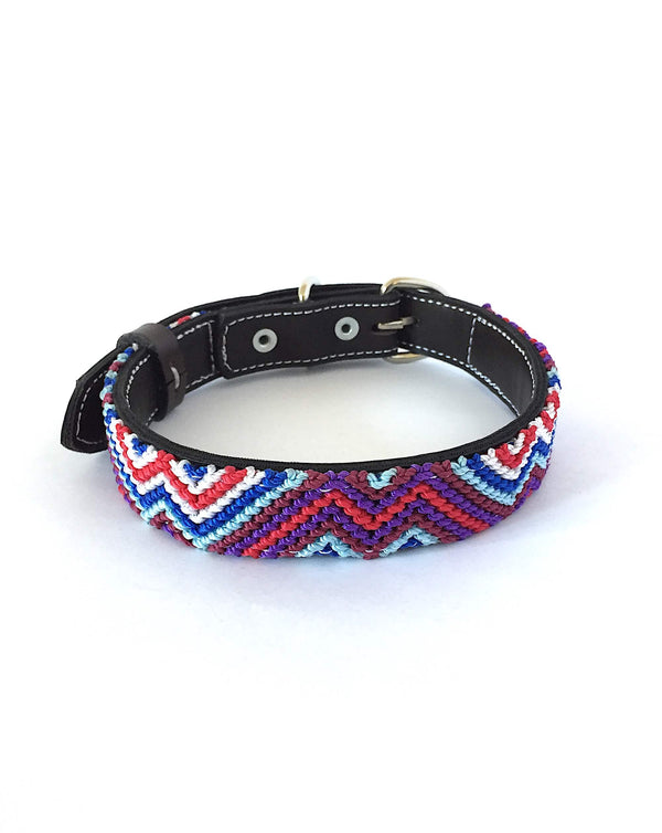 Makan Medium Size Dog Collar Purple, Red & Blue front view