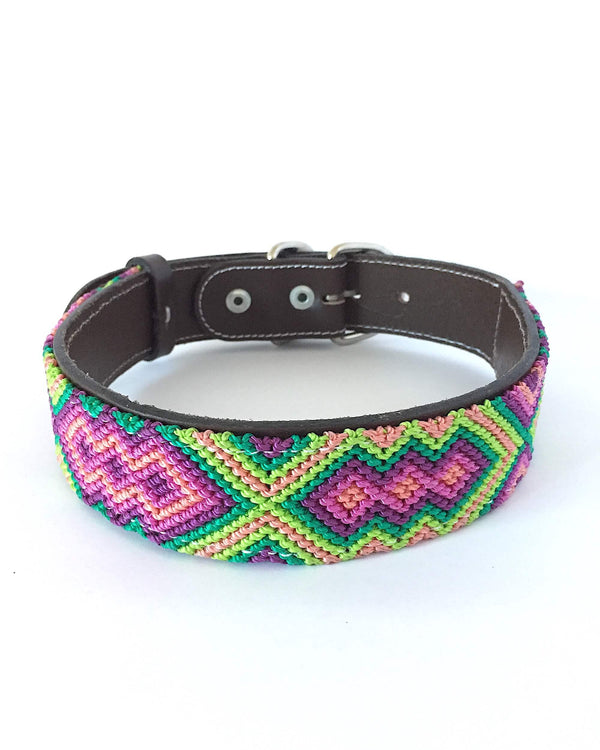 Makan Large Size Dog Collar Pink, Green & Orange color front view
