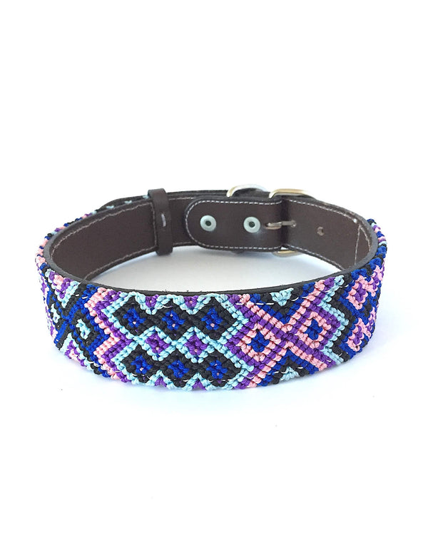 Makan Large Size Dog Collar blue and purple front view