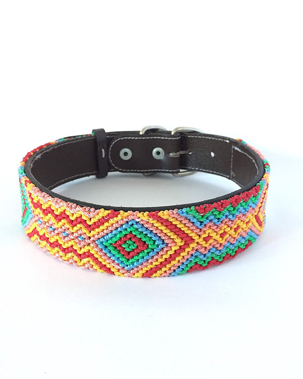 Makan Large Size Dog Collar organge, red, and green color  front view
