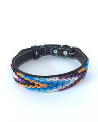 Makan Medium Size Dog Collar Blue, Orange & Purple front view