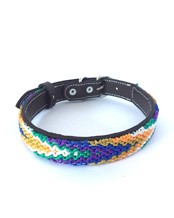 Makan Medium Size Dog Collar Purple, Blue & Orange front view