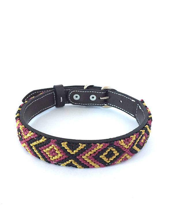 Makan Medium Size Dog Collar Black, Gold & Wine front view