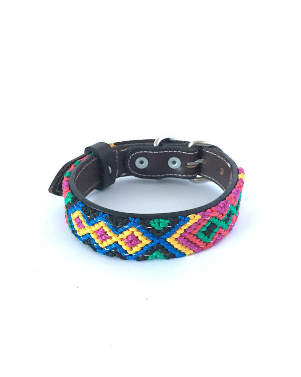 Makan Small Size Dog Collar Blue, Red & Yellow front view