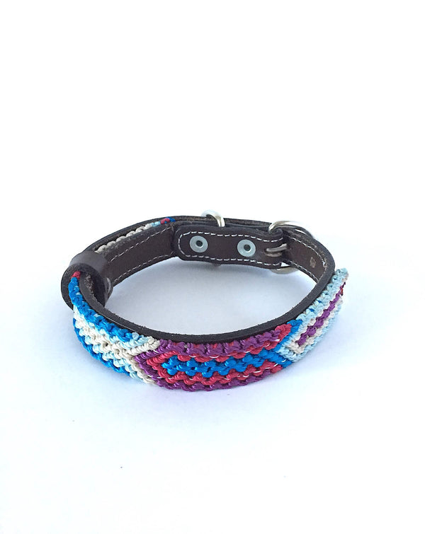 Makan Small Size Dog Collar Blue, White & Purple front view