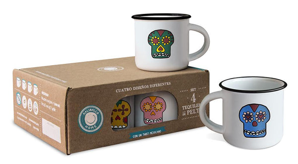 Calacas tequila shot cup set with 4 different colorful skull styles