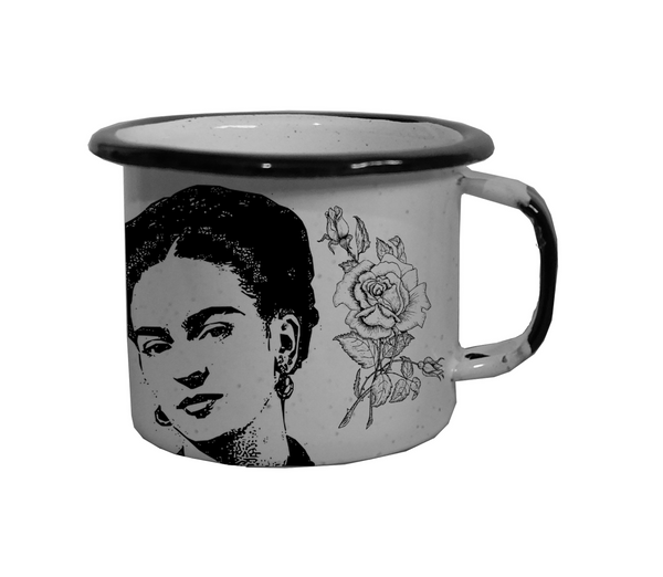 Enamel Coffee Cup Frida - Black & White with flower