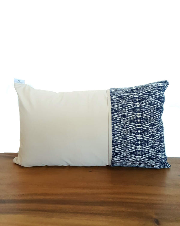 Sand Decortive Pillow with Navy Blue Details