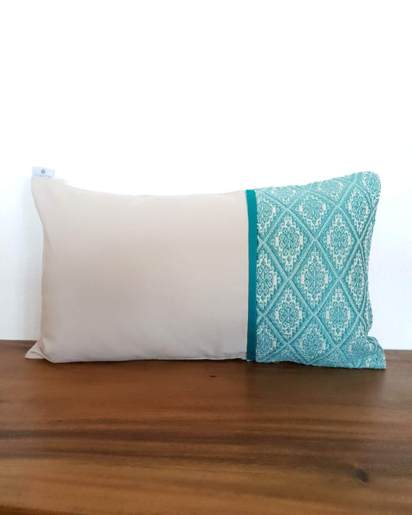 Sand Decortive Pillow with Turquoise Details