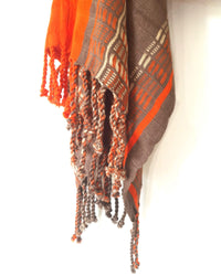 Taabal Brown & Orange Poncho fringes deatil view