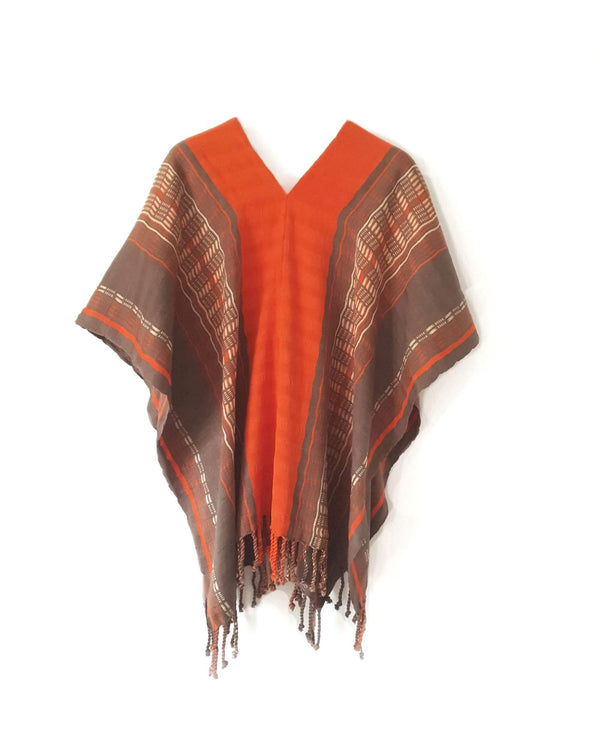 Taabal Brown & Orange Poncho long position