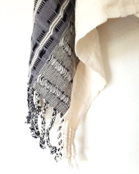 Taabal Rebozo Black & White Shawl Wrap open fringes and texture detail