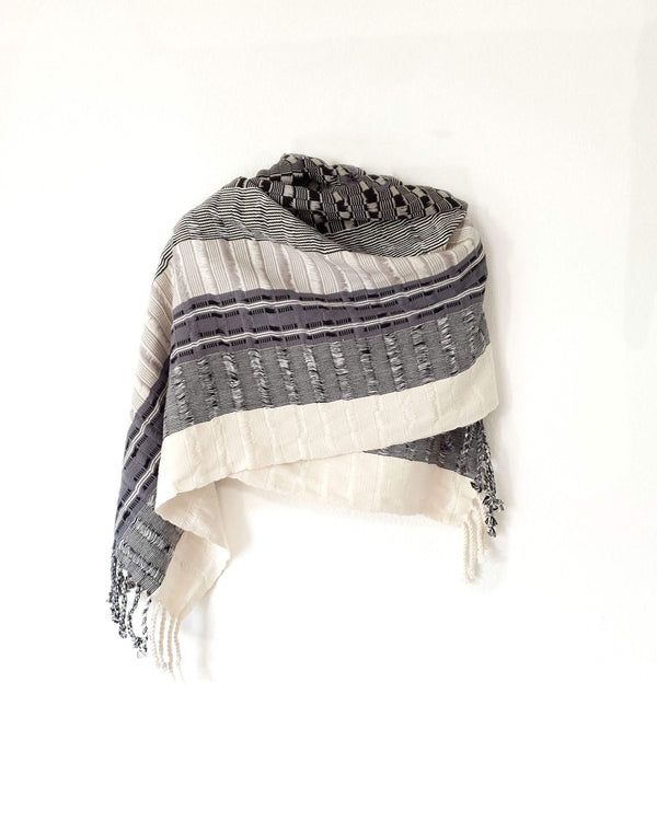 Taabal Rebozo Black & White Shawl Wrap around the shoulders