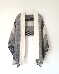 Taabal Rebozo Black & White Shawl Wrap open view with white front