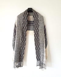 Taabal Rebozo Black & White Shawl Wrap open view with texture front