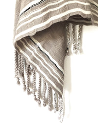 Taabal Rebozo Grey Shawl Wrap corner view