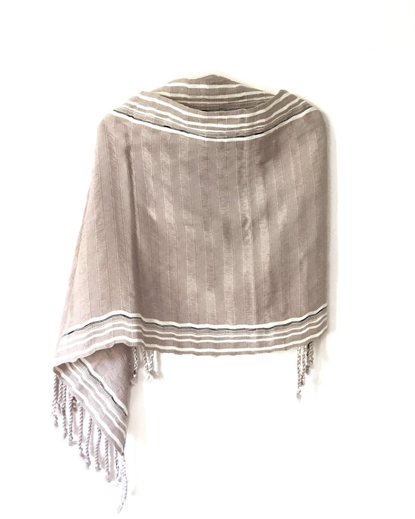 Taabal Rebozo Grey Shawl Wrap front view