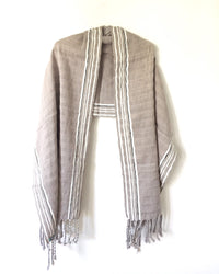 Taabal Rebozo Grey Shawl Wrap open view