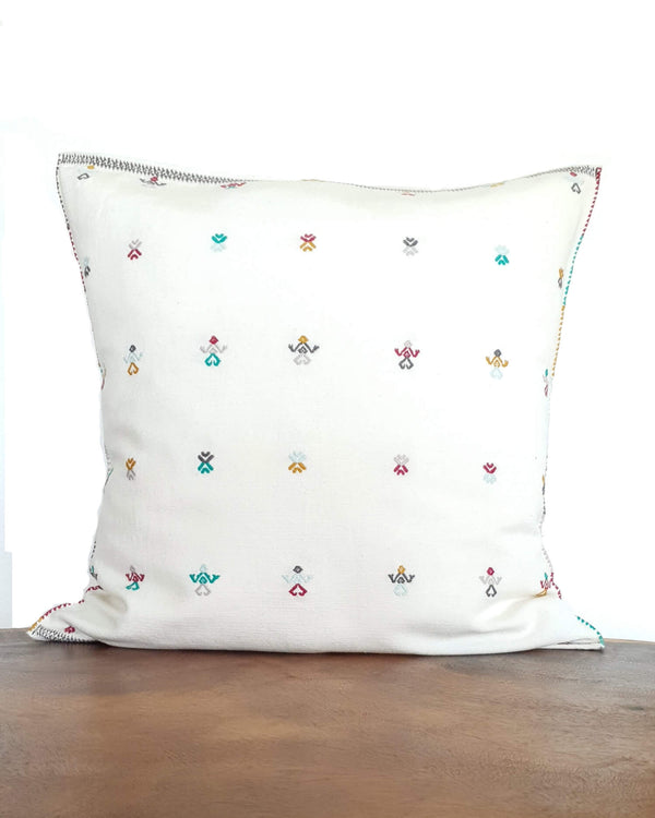 Decortive Pillow with brocade details in green, violet & mustard
