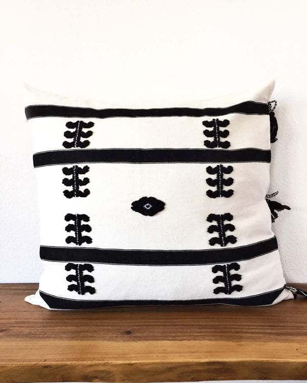 Virginia Throw Pillow white with black brocades front view