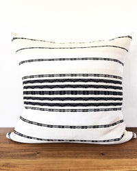 Zipolite Throw Pillow wite with black brocade stripes back view