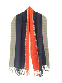Cotton Shawl Wrap Navy Blue & Red - Hanwoven Scarf Taabal