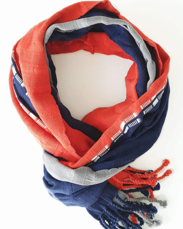 Cotton Scarf Navy Blue & Red Hanwoven