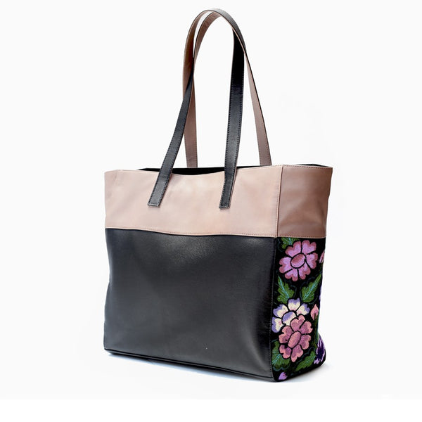 Leather Handbag Black with Beige with Embroidered Flowers Dalia - Shoulder & Travel Bag - Hand embroidered